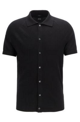Cardigan en maille à manches courtes en coton microstructuré, Noir