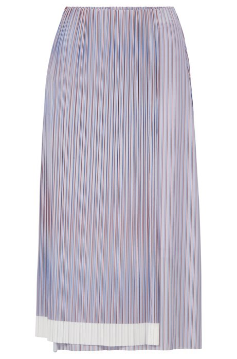 A-line skirt with plissé pleats and colour-block hem, Patterned