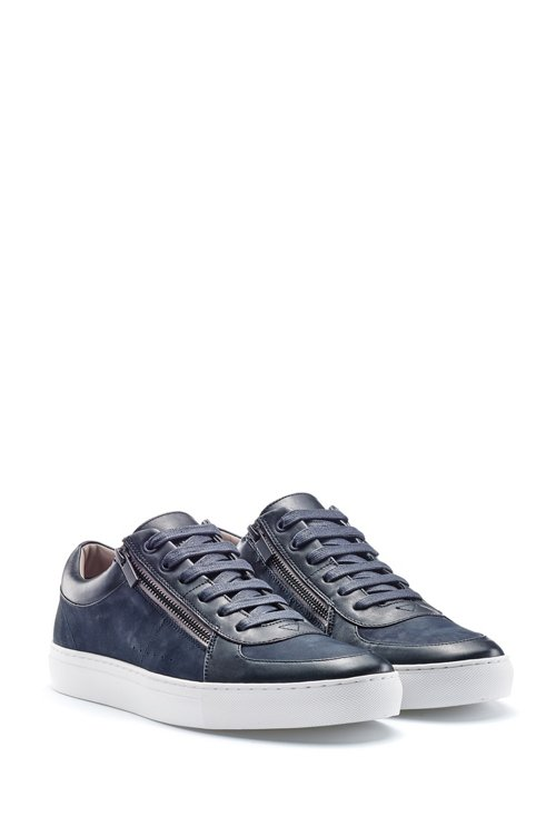 Hugo Boss - Zip-up trainers in nubuck and nappa leather - 2