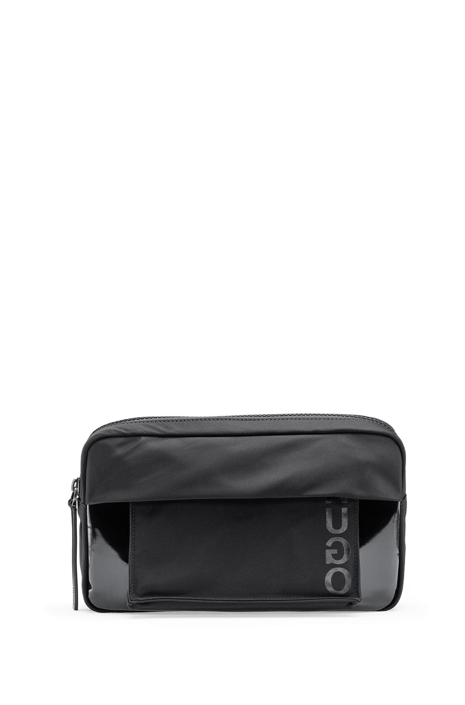 Verstelbaar heuptasje van technische gabardine met afneembare pochet, Zwart