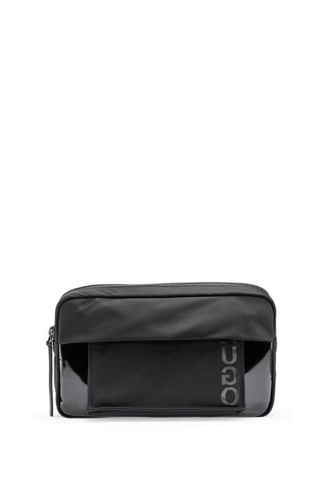 Adjustable belt bag in nylon garbardine with detachable pochette, Black