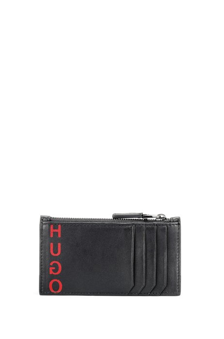 Leather card holder with zipped coin pocket, Black