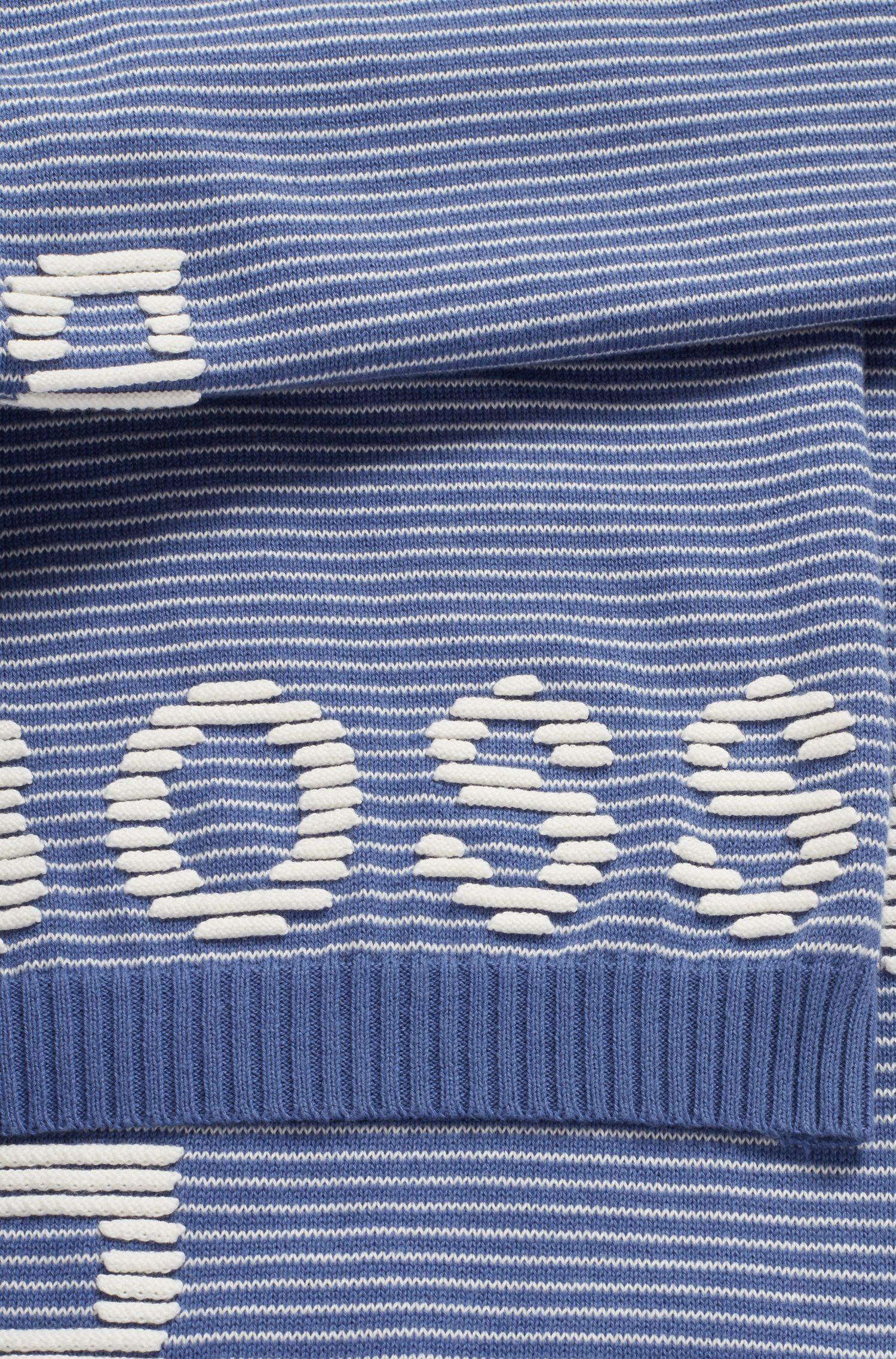 Schal aus reiner Baumwolle mit Ottoman-Struktur und 3D-Logos, Blau