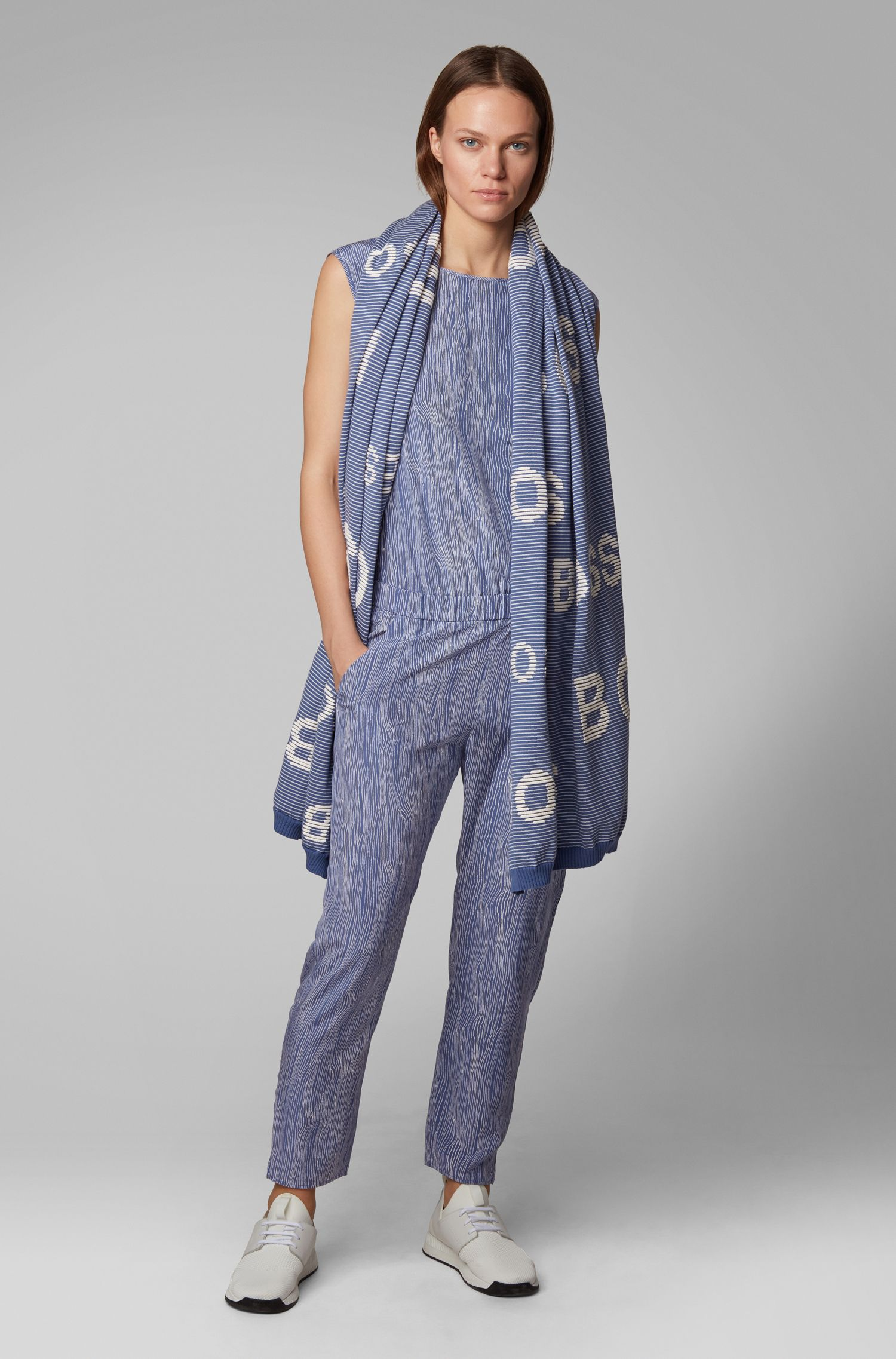 Scarf in ottoman-structured cotton with 3D logos, Blue