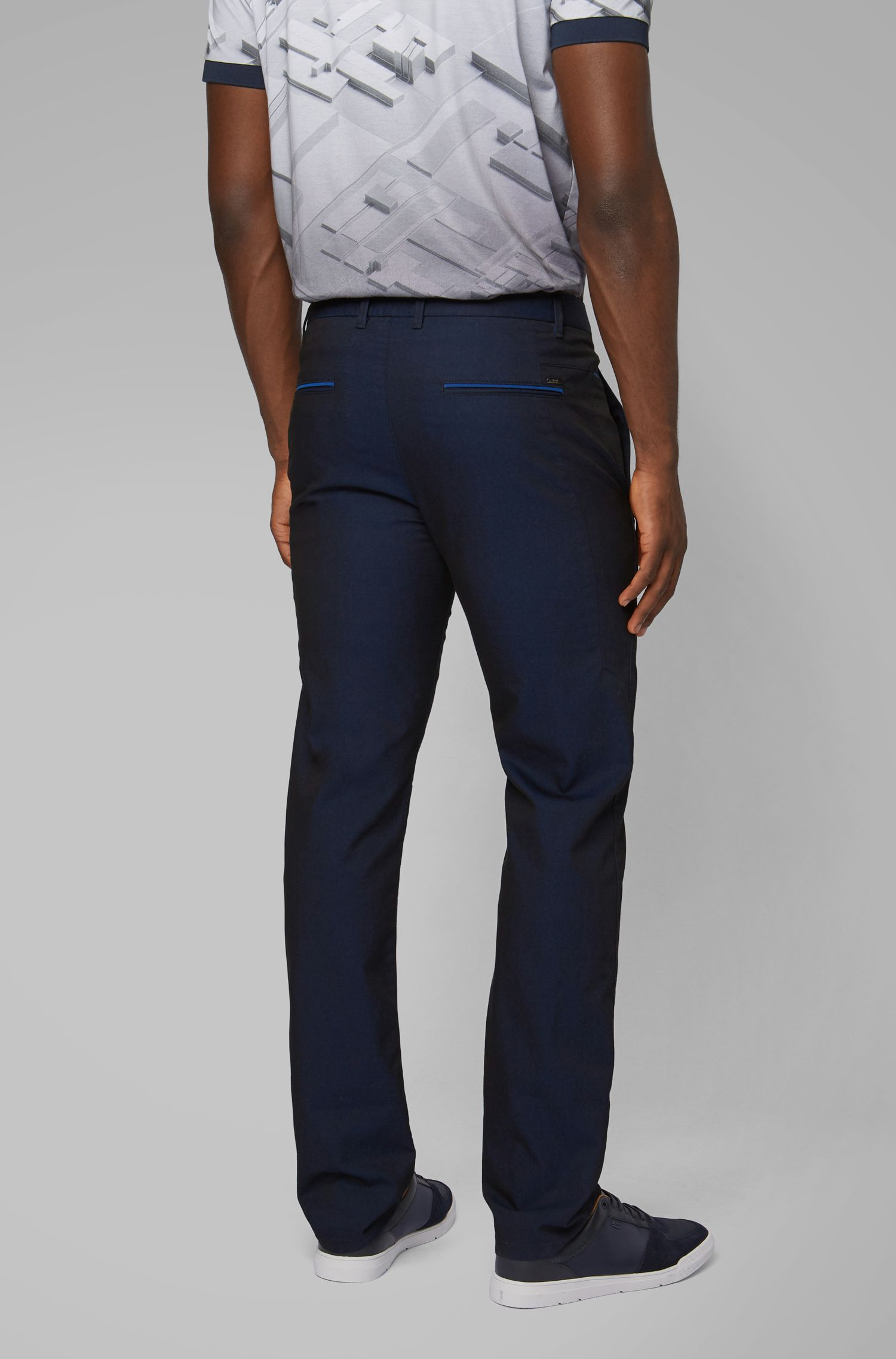 Regular-fit chinos in two-tone Italian twill, Black