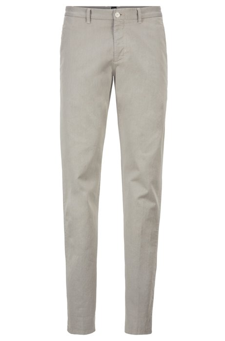 Chino Regular Fit en twill italien bicolore, Beige clair
