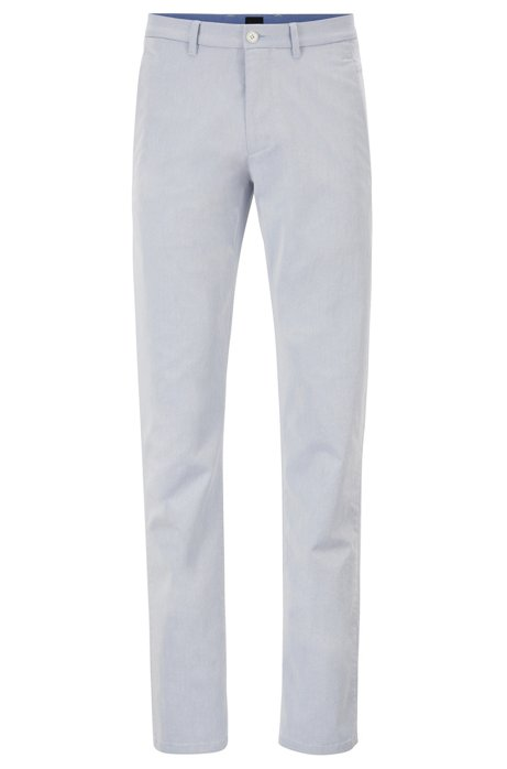 Chino Regular Fit en twill italien bicolore, Bleu foncé