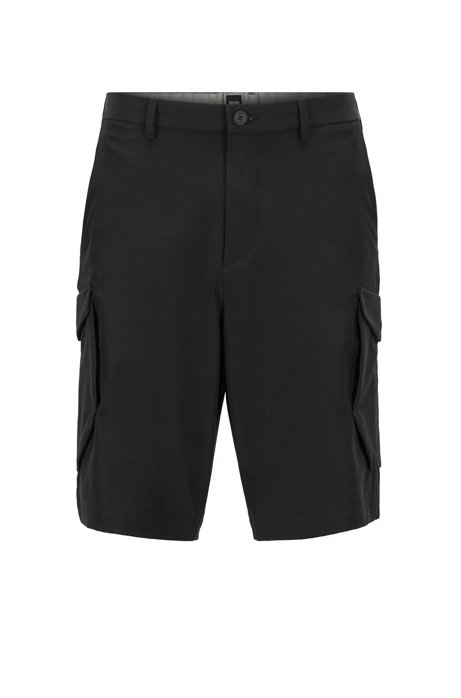 Shorts stile cargo in tessuto leggero elasticizzato in quattro direzioni, Nero