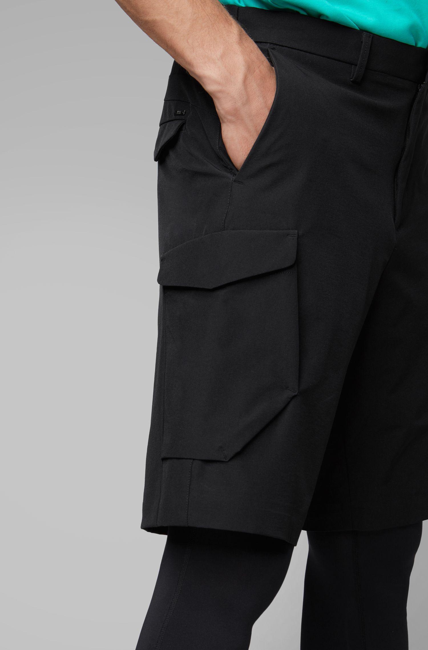 Short van licht, viervoudig stretchmateriaal in cargostijl, Zwart