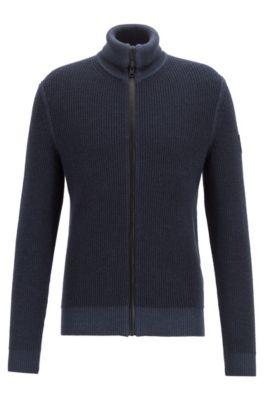 Veste zippée en maille côtelée de laine vierge