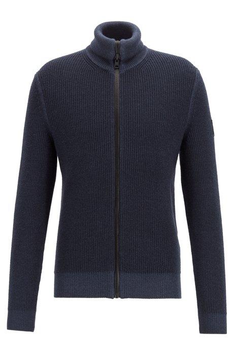 Zip-through knitted jacket in ribbed virgin wool, Dark Blue