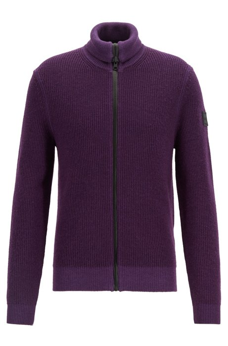 Zip-through knitted jacket in ribbed virgin wool, Dark Purple