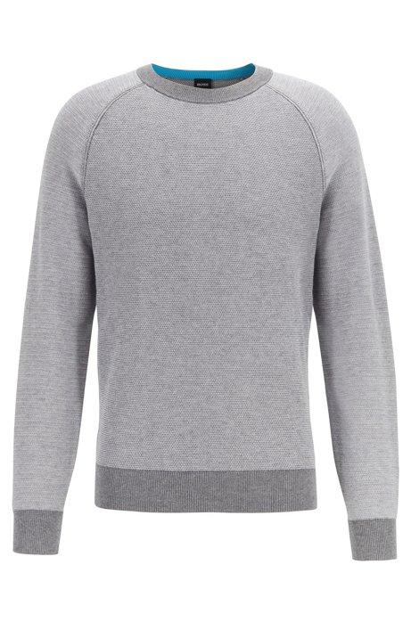 Jersey regular fit de algodón y lana con una mezcla de tejido jacquard , Gris claro