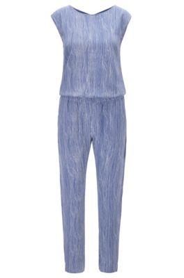Tuta jumpsuit regular fit in seta con stampa all-over, A disegni