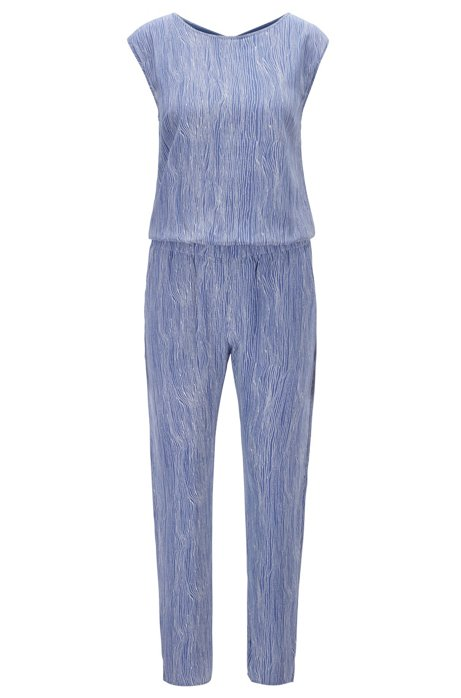 Regular-fit jumpsuit in silk with all-over print, Patterned