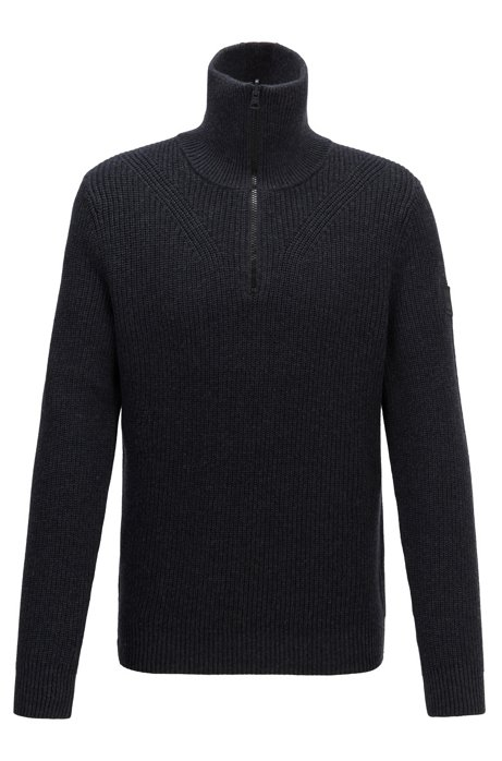 Zip-neck ribbed sweater in cotton with virgin wool, Black