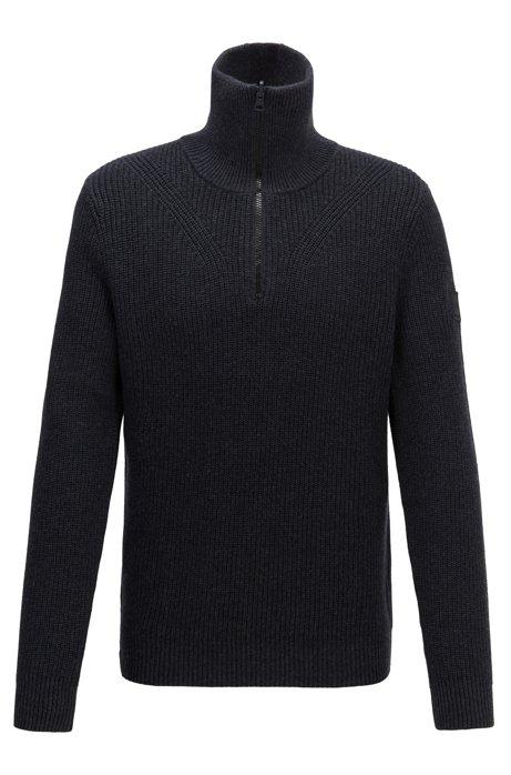 Gerippter Pullover aus gestrickter Baumwolle mit Schurwolle und Troyerkragen, Schwarz
