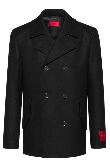 Slim-fit caban jacket in a wool blend, Black