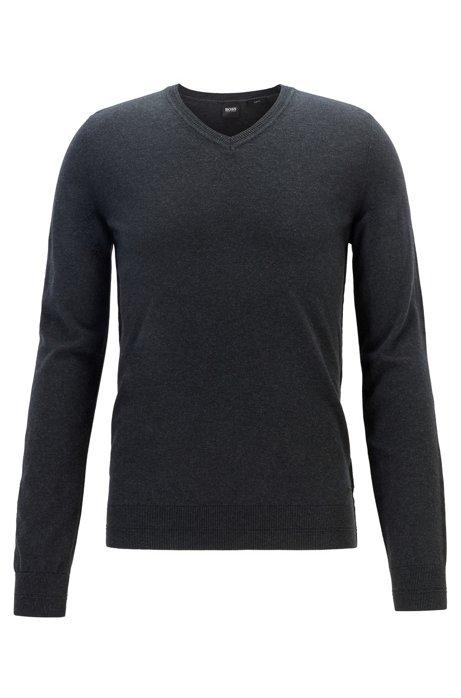 Lightweight melange sweater in cotton with cashmere, Black