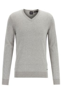 Pullover aus leichter, melierter Baumwolle mit Kaschmir, Hellgrau