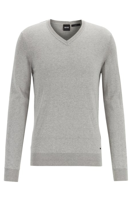 Lightweight melange sweater in cotton with cashmere, Open Grey