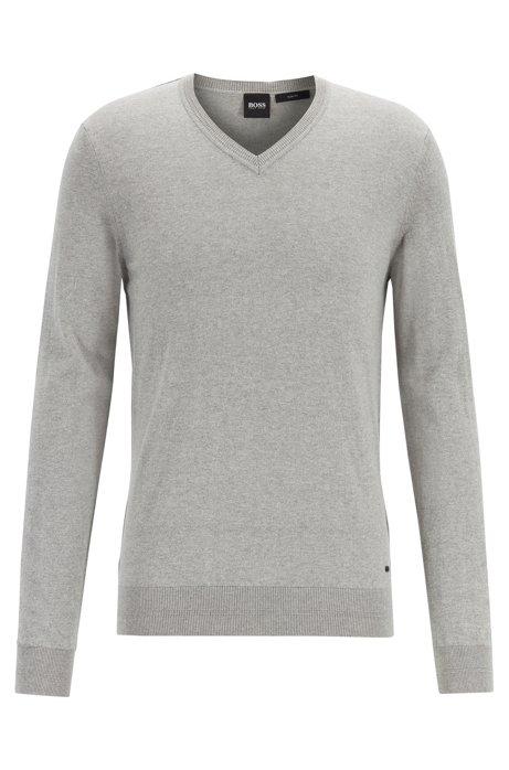 Jersey jaspeado ligero de algodón con cashmere, Gris claro