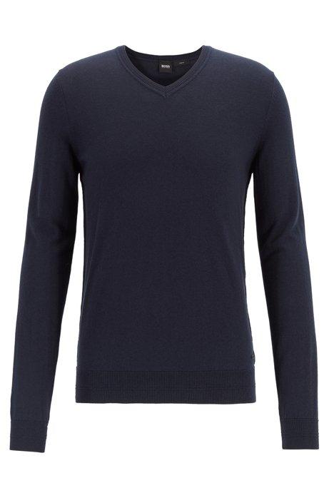 Lightweight melange sweater in cotton with cashmere, Dark Blue