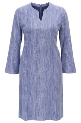 Regular-fit tunic dress in printed silk, Patterned