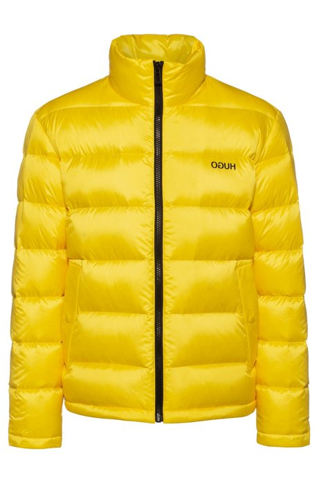 Relaxed-fit down jacket with reversed logos, Yellow