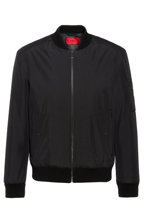 Slim-fit water-repellent bomber jacket with logo print, Black