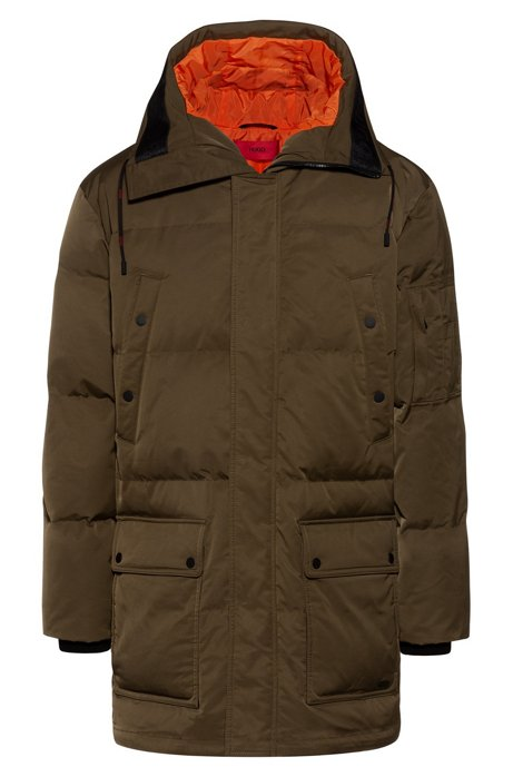 Relaxed-fit down coat with tape-trimmed hood, Dark Green