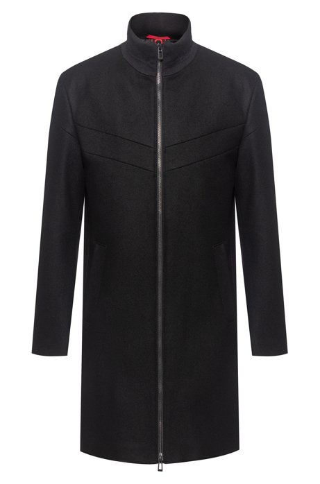 Slim-fit coat with logo-trimmed stand collar, Black