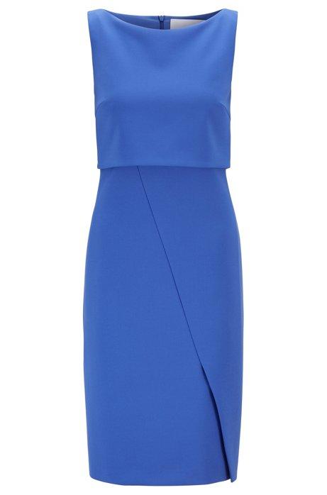 Moderno vestito dal taglio dritto con dettaglio asimmetrico avvolgente, Blu