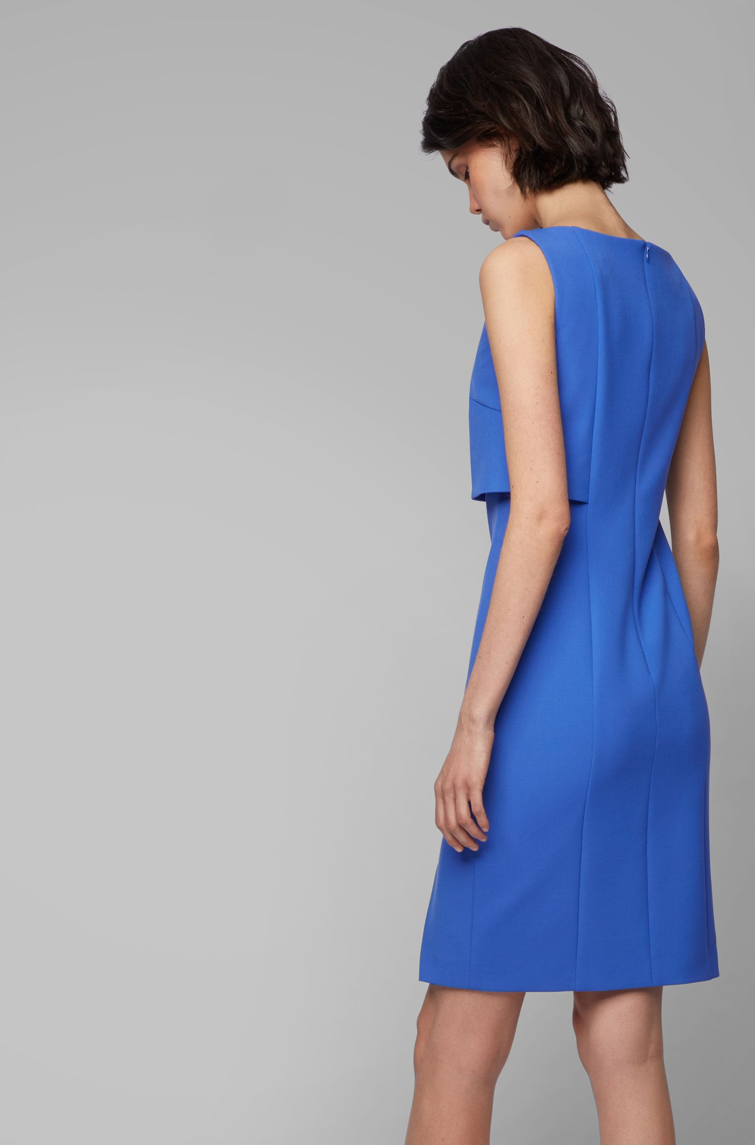 Modern shift dress with asymmetric wrap detail, Blue