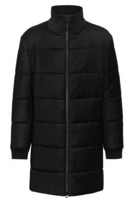 Regular-fit coat with removable logo patch, Black