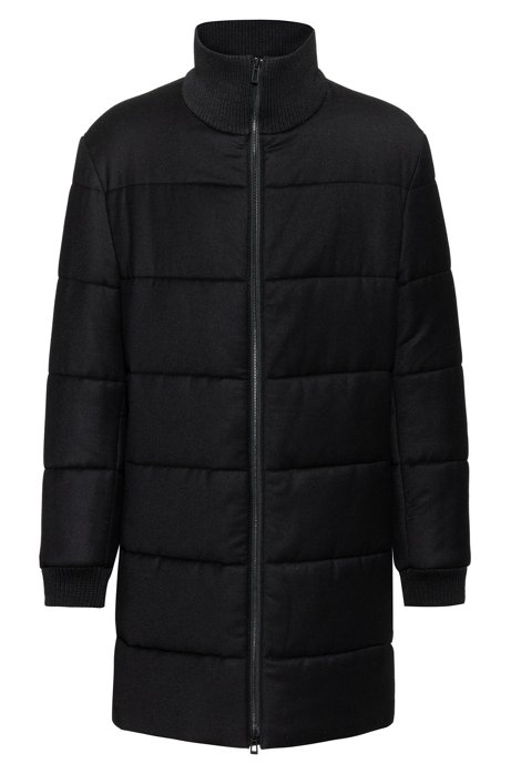 Down-filled coat with removable logo patch, Black
