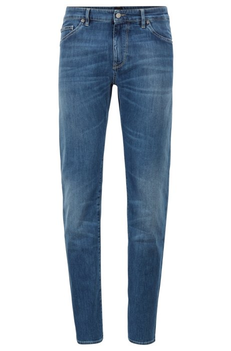 Vaqueros regular fit en denim elástico italiano azul claro, Turquesa