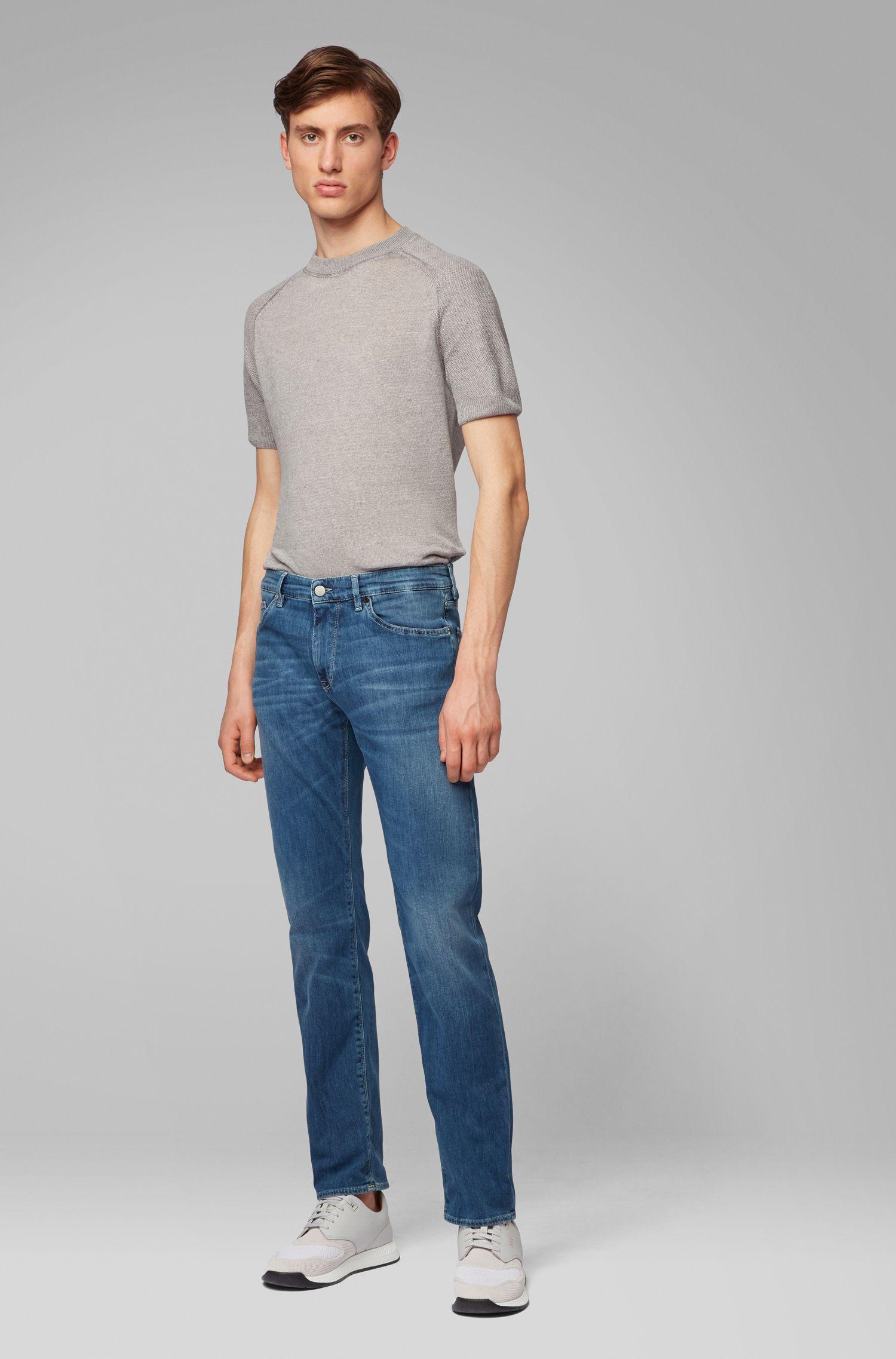 Regular-Fit Jeans aus italienischem Stretch-Denim, Türkis