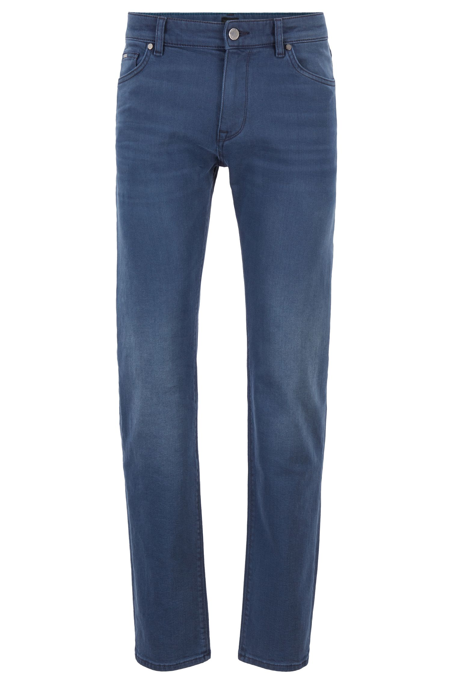 Jean Regular Fit en denim stretch confortable teint au soufre, Bleu
