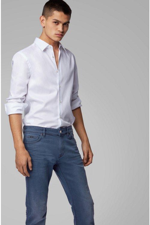 Hugo Boss - Regular-fit jeans in sulphur-dyed comfort-stretch denim - 5