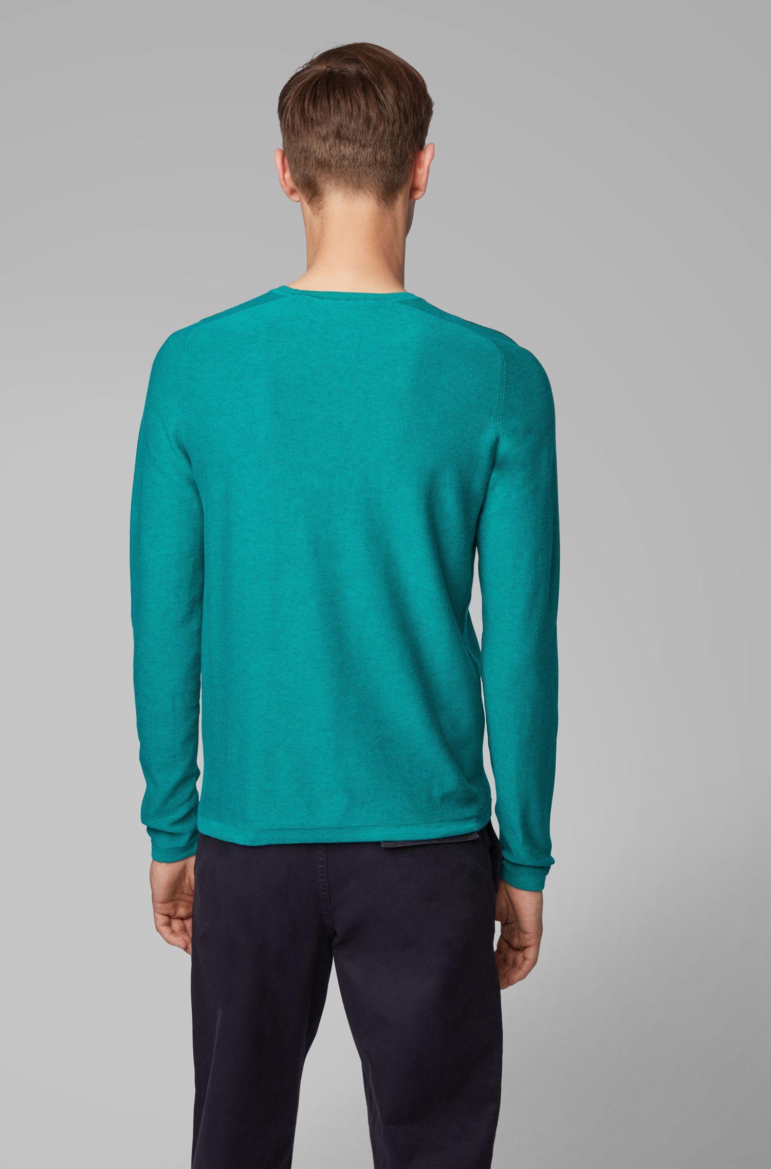 Pull Slim Fit avec différentes mailles, Vert