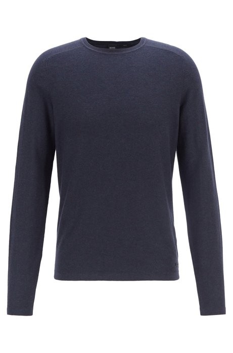 Slim-fit sweater with mixed knitting techniques, Dark Blue