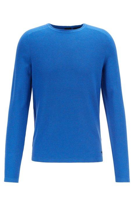 Maglione slim fit a lavorazione mista, Blu