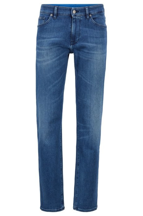 Jeans regular fit in denim elasticizzato blu medio italiano, Blu