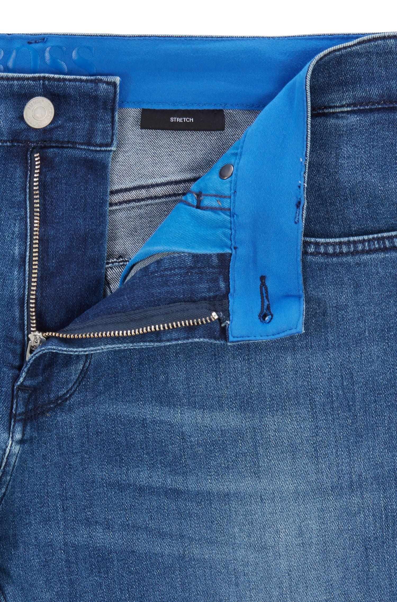 Regular-fit jeans in Italian mid-blue stretch denim, Blue