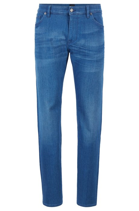 Regular-fit jeans in Italian mid-blue stretch denim, Blue