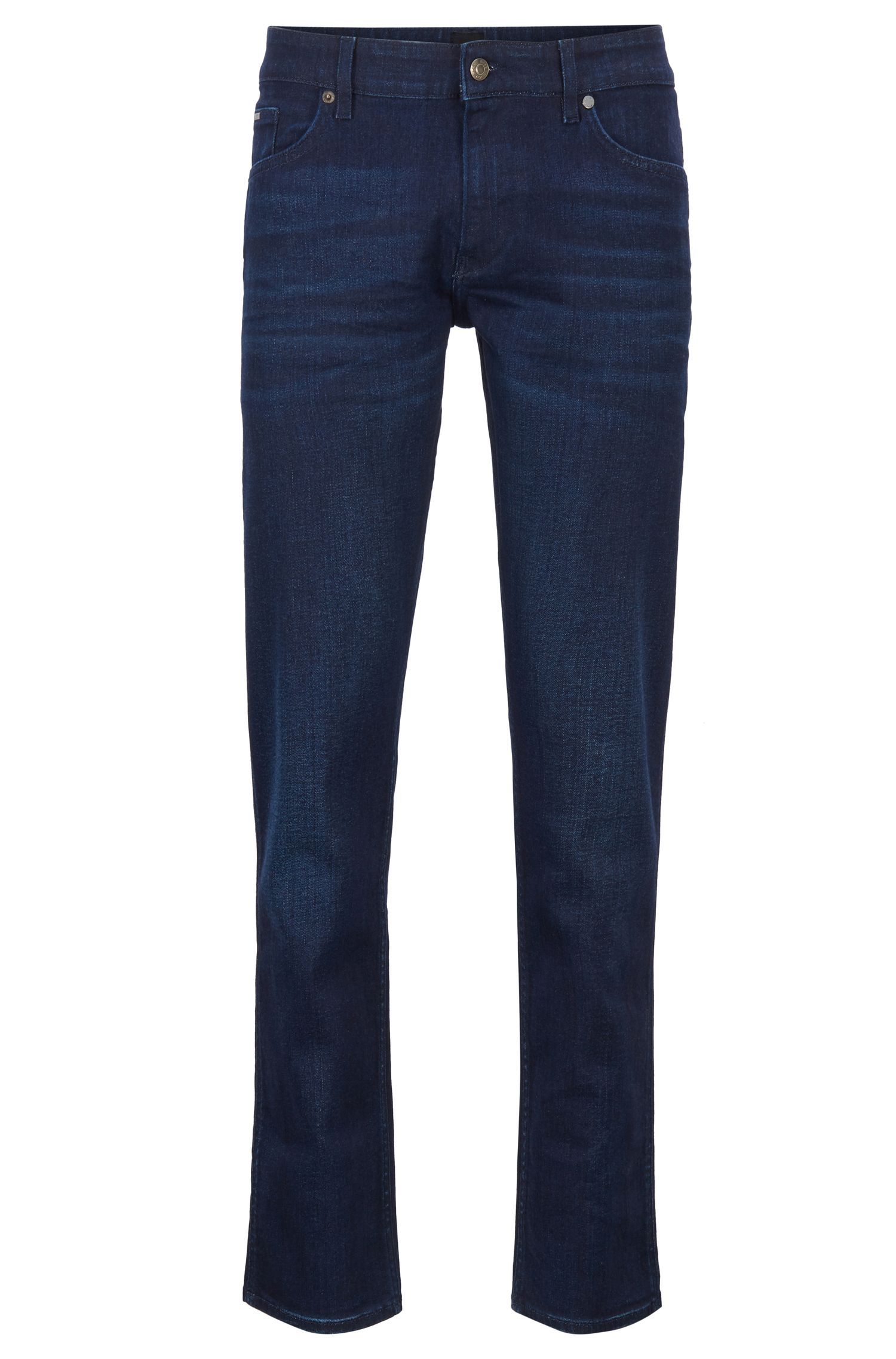 Slim-fit jeans van saffiergewassen Italiaans stretchdenim, Donkerblauw