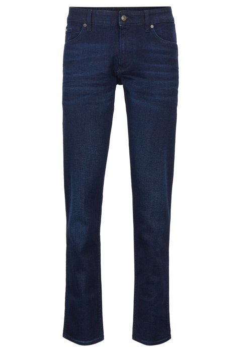 Slim-fit jeans in sapphire-washed Italian stretch denim, Dark Blue