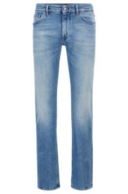 Blauwe regular-fit jeans van Italiaans ringgesponnen denim, Turkoois