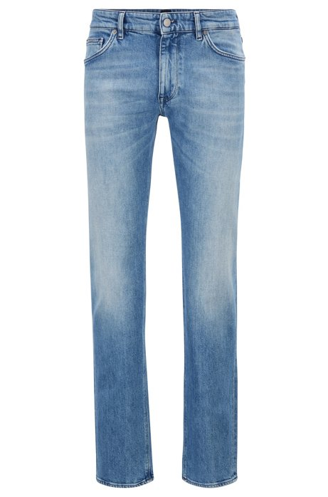 Blauwe regular-fit jeans van Italiaans ringgesponnen denim, Turkoois